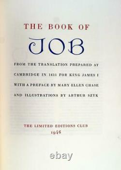 Arthur Szyk Signed Limited Editions Club 1945 The Book of Job Hardcover withDJ