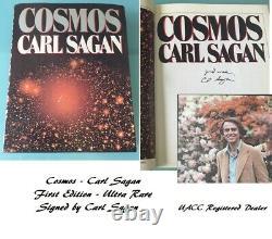 Carl Sagan COSMOS signed book First Edition Rare UACC Stunning