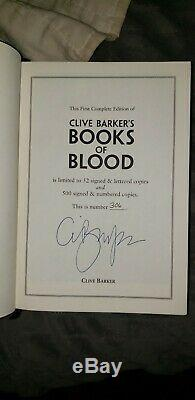 Clive Barker's Books of Blood Signed and Numbered Limited Edition withSlipcase