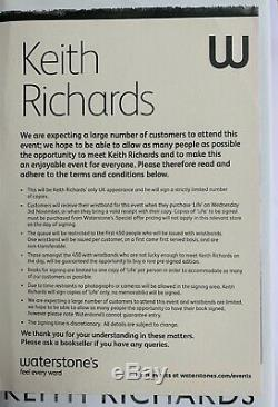 Keith Richards Signed Book Life 1st Edition, Signed In Person At Waterstones