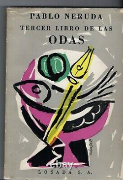 PABLO NERUDA SIGNED BOOK FIRST EDITION ODAS POEMS with Drawing US literature