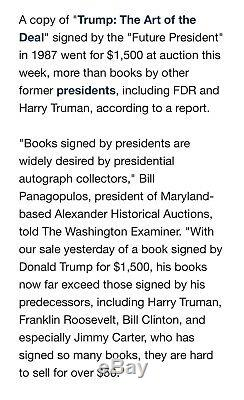 SIGNED Rare Book PRESIDENT DONALD TRUMP THINK LIKE A BILLIONAIRE, First edition