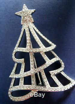 SWAROVSKI CHRISTMAS TREE PIN w LIMITED EDITION BOOK ABOUT SIGNED XMAS TREE PINS