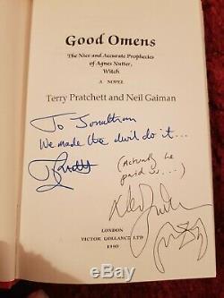 Signed Good Omens 1st Edition Hardback Book Neil Gaiman Terry Pratchett