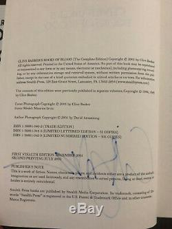 The Books of Blood, Vols. 1-6 Clive Barker Hand Signed Trade Edition PSA Cert