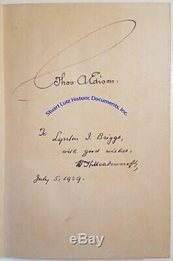 Thomas Edison signed book The Boy's Life Of Edison 1929 first edition